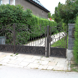 Romantic forged gate with a touch of Art Nouveau at the family house