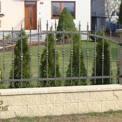 A simple wrought iron fence is made of forged elements